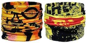 Yashinika Multicolour Pack of 2 Bandana Headband Face Mask;Outdoor Sport for Fishing;Cycling and Running