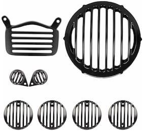 Yashinika Plastic Grill Protector for Royal Enfield Bullet Standard 350 & Royal Enfield Standard 500 (Black;Set of 8) Bike Headlight Grill (Black)