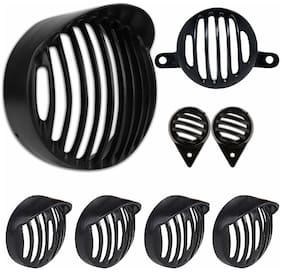 Yashinika Plastic Cap Grill for Grill Protector Bike Headlight Grill (Black)