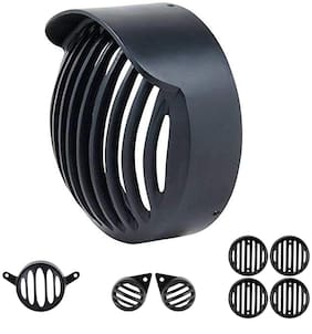 Yashinika Plastic Cap Grill for Headlight Tail Light Parking Light Indicator Grill Protector for Royal Enfield Classic 350 & 500 (Black;Set of 8)