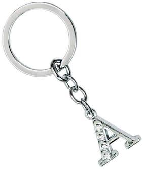 Zcarina Alphabet A Letter Logo Metal Keychain   Keyring   Key Ring   Key Chain for Your Car Bike Home Office Keys   for Men Women Boys Girls (Silver)