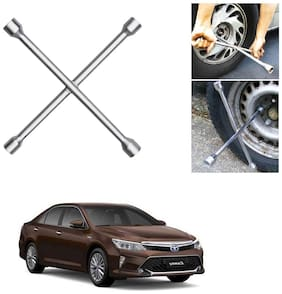 Znee Smart 4 Way Car Wheel Steel (17 x 19 mm, 18 x 21 mm) Cross Rim Wrench (Silver) for Toyota Camry