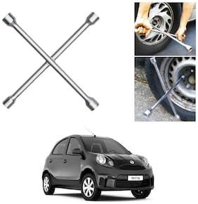 Znee Smart 4 Way Car Wheel Steel (17 x 19 mm, 18 x 21 mm) Cross Rim Wrench (Silver) for Nissan Micra Active