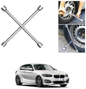 Znee Smart 4 Way Car Wheel Steel (17 x 19 mm, 18 x 21 mm) Cross Rim Wrench (Silver) for BMW 1 Series