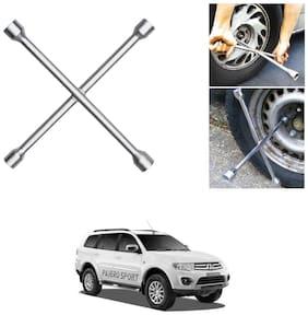 Znee Smart 4 Way Car Wheel Steel (17 x 19 mm, 18 x 21 mm) Cross Rim Wrench (Silver) for Mitsubishi Pajero