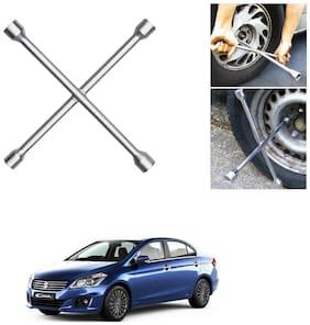 Znee Smart 4 Way Car Wheel Steel (17 x 19 mm, 18 x 21 mm) Cross Rim Wrench (Silver) for Maruti Suzuki Ciaz