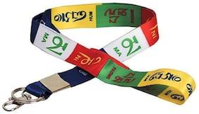 ZNEE SMART Fabric Multicolour Tibetian Ladakh Prayer Lanyard ID Tag Chain keychain