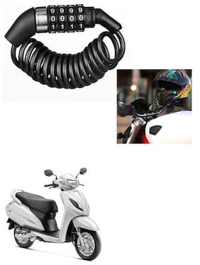 Znee Smart Motorbike & Bicycle Lock 4 Digit  Anti-Theft Bike Lock Cycling Helmet Code Combination  Cable Lock For Honda Activa 6G
