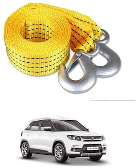 Znee Smart Premium Heavy Duty 4M Long Tow Belt  Car Tow Cable 3 Ton Towing  Rope with Dual Heavy Dut Forged Hooks For Maruti Suzuki Vitara Brezza