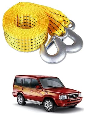 Znee Smart Premium Heavy Duty 4M Long Tow Belt  Car Tow Cable 3 Ton Towing Strap Rope with Dual Heavy Duty Forged Hooks For Tata Sumo