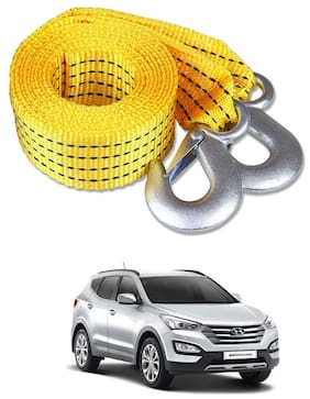 Znee Smart Premium Heavy Duty 4M Long Tow Belt  Car Tow Cable 3 Ton Towing Strap Rope with Dual Heavy Duty Forged Hooks For Hyundai SantaFe