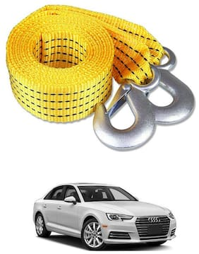 Znee Smart Premium Heavy Duty 4M Long Tow Belt  Car Tow Cable 3 Ton Towing Strap Rope with Dual Heavy Duty Forged Hooks For Audi A4