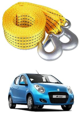Znee Smart Premium Heavy Duty 4M Long Tow Belt  Car Tow Cable 3 Ton Towing Strap Rope with Dual Heavy Duty Forged Hooks For Maruti Suzuki A-Star