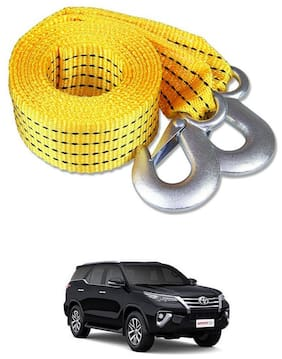 Znee Smart Premium Heavy Duty 4M Long Tow Belt  Car Tow Cable 3 Ton Towing Strap Rope with Dual Heavy Duty Forged Hooks For Toyota New Fortuner