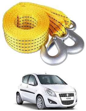 Znee Smart Premium Heavy Duty 4M Long Tow Belt  Car Tow Cable 3 Ton Towing Strap Rope with Dual Heavy Duty Forged Hooks For Maruti Suzuki Ritz