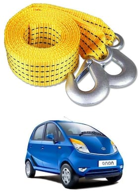 Znee Smart Premium Heavy Duty 4M Long Tow Belt  Car Tow Cable 3 Ton Towing Strap Rope with Dual Heavy Duty Forged Hooks For Tata Nano