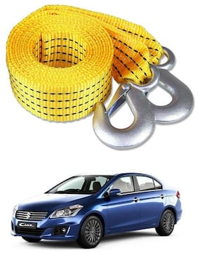Znee Smart Premium Heavy Duty 4M Long Tow Belt  Car Tow Cable 3 Ton Towing Strap Rope with Dual Heavy Duty Forged Hooks For Maruti Suzuki Ciaz
