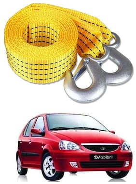 Znee Smart Premium Heavy Duty 4M Long Tow Belt  Car Tow Cable 3 Ton Towing Strap Rope with Dual Heavy Duty Forged Hooks For Tata Indica V2