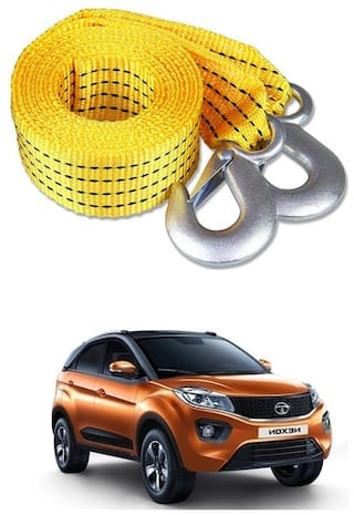 Znee Smart Premium Heavy Duty 4M Long Tow Belt  Car Tow Cable 3 Ton Towing Strap Rope with Dual Heavy Duty Forged Hooks For Tata Nexon