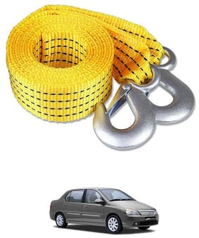 Znee Smart Premium Heavy Duty 4M Long Tow Belt  Car Tow Cable 3 Ton Towing Strap Rope with Dual Heavy Duty Forged Hooks For Tata Indigo XL