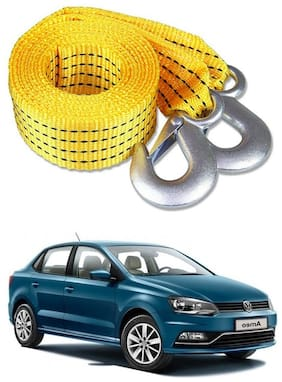 Znee Smart Premium Heavy Duty 4M Long Tow Belt  Car Tow Cable 3 Ton Towing Strap Rope with Dual Heavy Duty Forged Hooks For Volkswagen Ameo