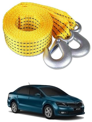 Znee Smart Premium Heavy Duty 4M Long Tow Belt  Car Tow Cable 3 Ton Towing Strap Rope with Dual Heavy Duty Forged Hooks For Skoda Rapid
