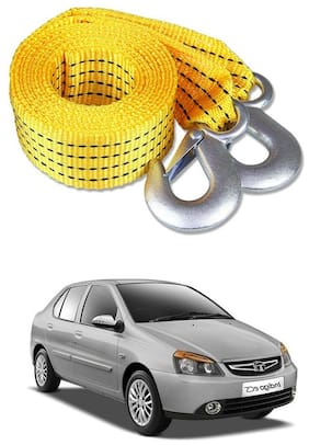 Znee Smart Premium Heavy Duty 4M Long Tow Belt  Car Tow Cable 3 Ton Towing Strap Rope with Dual Heavy Duty Forged Hooks For Tata Indigo CS