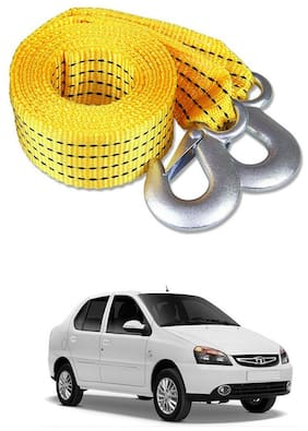 Znee Smart Premium Heavy Duty 4M Long Tow Belt  Car Tow Cable 3 Ton Towing Strap Rope with Dual Heavy Duty Forged Hooks For Tata Indigo eCS