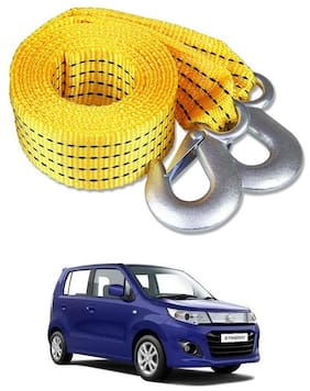 Znee Smart Premium Heavy Duty 4M Long Tow Belt  Car Tow Cable 3 Ton Towing Rope with Dual Heavy Duty s For Maruti Suzuki WagonR Stingray