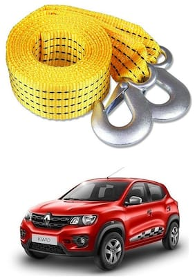 Znee Smart Premium Heavy Duty 4M Long Tow Belt  Car Tow Cable 3 Ton Towing Strap Rope with Dual Heavy Duty Forged Hooks For Renault Kwid