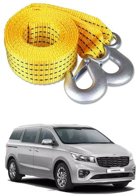Znee Smart Premium Heavy Duty 4M Long Tow Belt  Car Tow Cable 3 Ton Towing Strap Rope with Dual Heavy Duty Forged Hooks For Kia Carnival