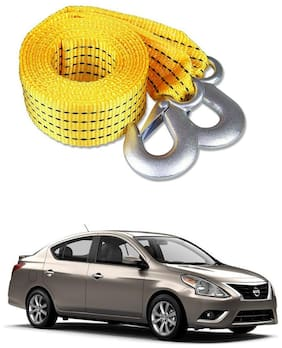 Znee Smart Premium Heavy Duty 4M Long Tow Belt  Car Tow Cable 3 Ton Towing Strap Rope with Dual Heavy Duty Forged Hooks For Nissan Sunny