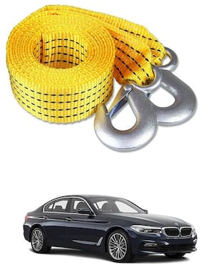 Znee Smart Premium Heavy Duty 4M Long Tow Belt  Car Tow Cable 3 Ton Towing Strap Rope with Dual Heavy Duty Forged Hooks For BMW 525i