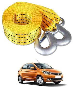 Znee Smart Premium Heavy Duty 4M Long Tow Belt  Car Tow Cable 3 Ton Towing Strap Rope with Dual Heavy Duty Forged Hooks For Tata Tiago