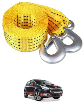 Znee Smart Premium Heavy Duty 4M Long Tow Belt  Car Tow Cable 3 Ton Towing Strap Rope with Dual Heavy Duty Forged Hooks For Fiat Abarth Punto