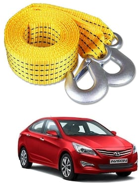 Znee Smart Premium Heavy Duty 4M Long Tow Belt  Car Tow Cable 3 Ton Towing Strap Rope with Dual Heavy Duty Forged Hooks For Hyundai Fluidic Verna 4S
