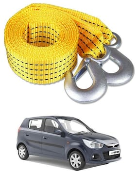 Znee Smart Premium Heavy Duty 4M Long Tow Belt  Car Tow Cable 3 Ton Towing Strap Rope with Dual Heavy Duty Forged Hooks For Maruti Suzuki Alto K10