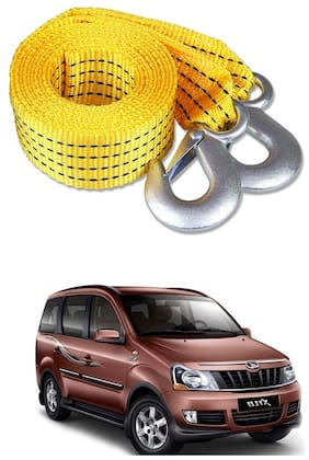Znee Smart Premium Heavy Duty 4M Long Tow Belt  Car Tow Cable 3 Ton Towing Strap Rope with Dual Heavy Duty Forged Hooks For Mahindra Xylo