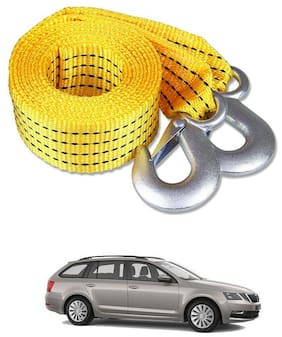 Znee Smart Premium Heavy Duty 4M Long Tow Belt  Car Tow Cable 3 Ton Towing Strap Rope with Dual Heavy Duty Forged Hooks For Skoda Octavia Combi