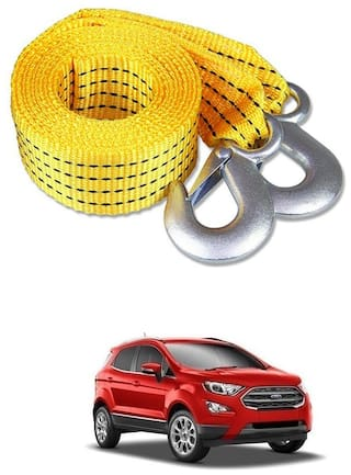 Znee Smart Premium Heavy Duty 4M Long Tow Belt  Car Tow Cable 3 Ton Towing Strap Rope with Dual Heavy Duty Forged Hooks For Ford Ecosport