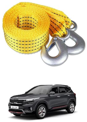 Znee Smart Premium Heavy Duty 4M Long Tow Belt  Car Tow Cable 3 Ton Towing Strap Rope with Dual Heavy Duty Forged Hooks For Kia Seltos