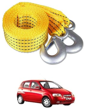 Znee Smart Premium Heavy Duty 4M Long Tow Belt  Car Tow Cable 3 Ton Towing Strap Rope with Dual Heavy Duty Forged Hooks For Chevrolet Aveo U-VA
