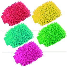 Zukunft fashion microfibre double sided dusting cleaning wet and dry glove set Of 5