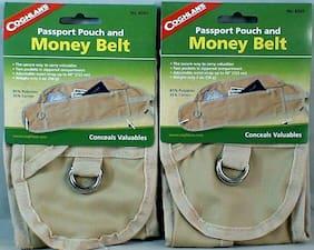 2PK MONEY  BELT FOR CASH, PASSPORT CREDIT CARDS ZIPPER POUCH STRAPS AROUND WAIST