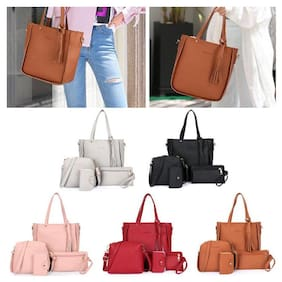 b53747feab 4Pcs 1Set Women PU Tassels Leather Bags Handbag Lady Shoulder Bag Tote Purse