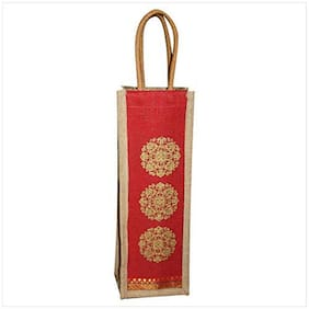 A&A Bags Jute Eco-Friendly Floral Design Water Bottle Carry Bag (1.5 L, Red)