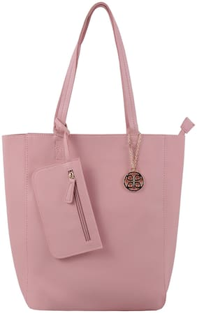 Addons Women Solid PU - Tote Bag Pink