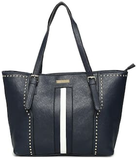 Addons Women Solid Pu - Tote Bag Blue