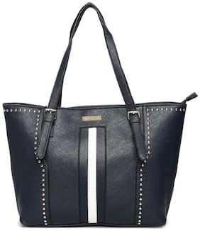 Addons Women Solid PU - Tote Bag Blue
