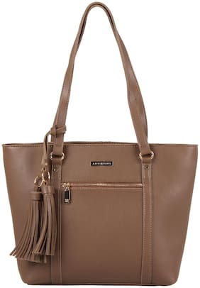 Addons Brown PU Shoulder Bag